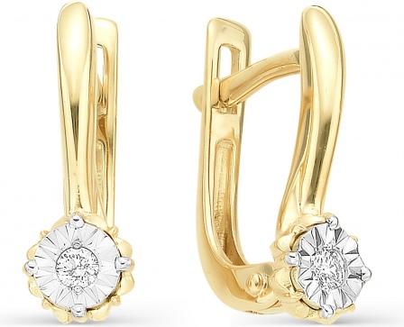 «Калина Голд» - роскошные серьги из желтого золота с бриллиантами